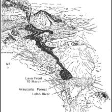 Infografía que detalla el avance de la lava hacia Lolco